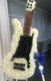 CUSTOM ELECTRIC GUITAR STANDING FUNERAL PC ON A 6' STAND/MUST CALL TO PLACE ORDER