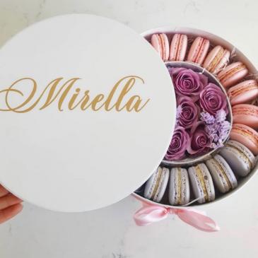 Custom  French Macarons & Flower Gift Box  Macrons