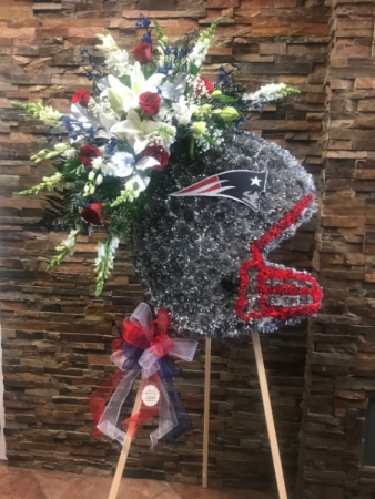 CUSTOM NEW ENGLAND PATRIOTS HELMET STANDING FUNERAL PC ON A 6' STAND