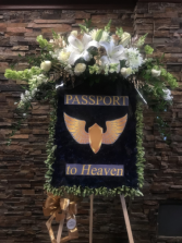 CUSTOM PASSPORT TO HEAVEN FUNERAL STANDING SPRAY