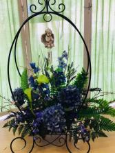Plant Stand Arrangement & Windchimes  Shop Exclusive.  Other Colors Available