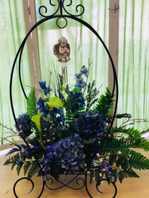 Plant Stand Arrangement & Windchimes  Shop Exclusive.  Other Colors Available
