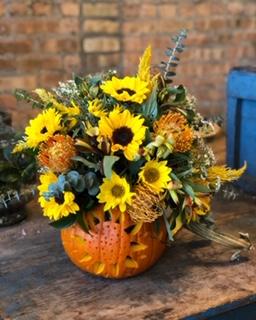Custom Pumpkin Arrangement  in Chicago, IL | THATS AMORE / PRIMROSE CHICAGO