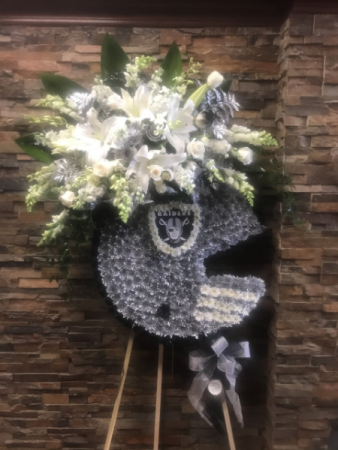 CUSTOM RAIDERS HELMET FUNERAL STANDING SPRAY