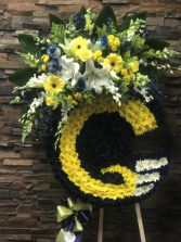 CUSTOM RAMS HELMET/CALL TO PLACE ORDER 45'-50' RAMS HELMET W/FLOWER CLUSTER