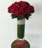 Custom red rose vase arrangement call for pricing
