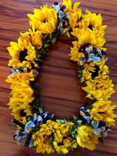 CUSTOM SUNFLOWER LEI #2 W/RIBBONS GRADUATION LEI