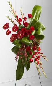 CUSTOM TROPICAL RED ANTHIRIUM STANDING SPRAY STANDING FUNERAL PC ON A 6' STAND
