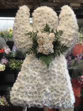 CUSTOM WHITE ANGEL STANDING FUNERAL PC ON A 6' STAND