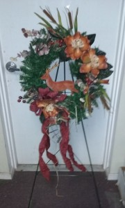 Custom Woodsy Wreath with Deer Standing Spray