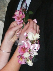 Customized Mixed Wrist Corsage & Boutonniere in North Adams, MA | MOUNT WILLIAMS GREENHOUSES INC