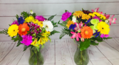 large fresh cut bouquets in clear vases EVERYDAY SPLASH OF COLOR