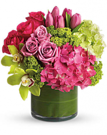 Cylinder Of Pinks, Lavenders And Greens Flower Arrangement