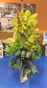 Cymbidium Grandeur Tropical vase arrangement