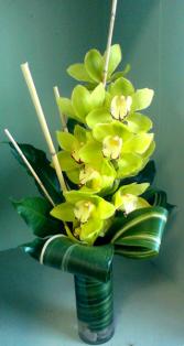 Cymbidium Orchid Arrangement Vase Arrangement