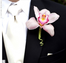 Cymbidium Orchid Boutonniere Available in other colors please call.