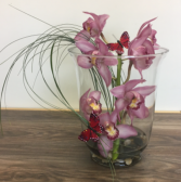 Cymbidium orchid vase arrangement Orchid arrangement