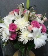 D156 elegant whites & pinks in vase