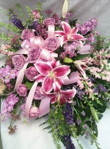 D182 lavender roses & lilys spray