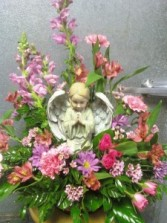 D310  angel & flowers in pinks & purples