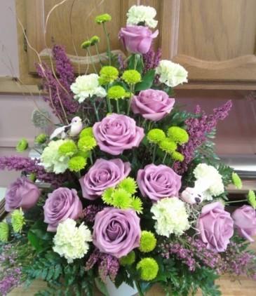 D315 Lavender rose mix Funeral arrg.