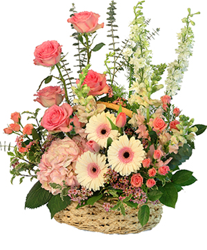 Blushing Sweetness Basket Arrangement in Kingston, TN | ROSEMARY'S FLORIST N CUPCAKE HAVEN
