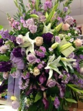 Lavender and white funeral spray Funeral Standing spray -Sympathy