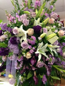 Lavender and white funeral spray Funeral Stand, Sympathy in Fresno, CA | FLOWERS AND MORE