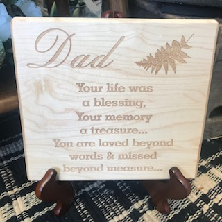 Dad Memorial Plaque Maple Wood