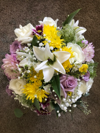 Dahlia Among Roses & Lilies Wedding  Bouquet