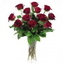 Daileys Classic Rose Dozen Vase of Roses