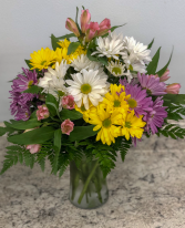 Daisies and Lilies Floral Vase