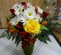 Daisies and Roses Vase Arrangement