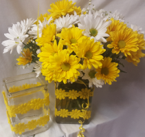 """DAISY, DAISY BOUQUET"" CUTE VASE Filled   with yellow and white daisies and a filler flower!"