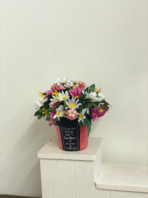 Daisy tin Silk Arrangement