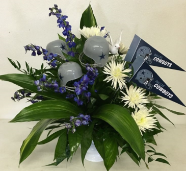 Dallas Cowboy Themed Urn Blue and White Sympathy Floral Design