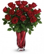 Love Dance 24 Long Stemmed Crimson Roses in  Deep  Red Crystal Swirl Vase