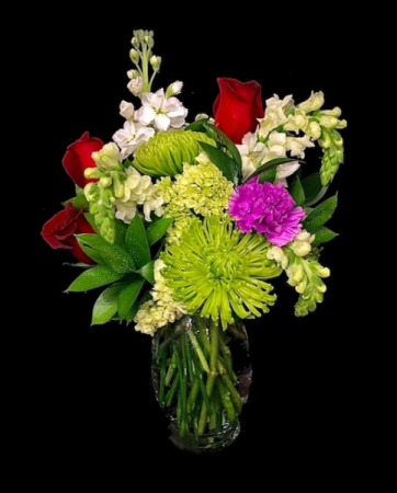 Happy Dance Lime Green & Red Roses