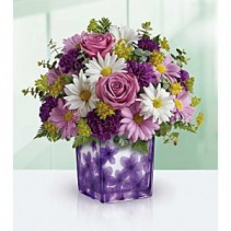 Dancing Violets Keepsake Cube Arrangement