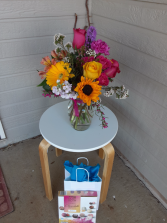 dancing with bright colors and chocolate vase and chocolate