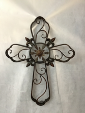 Dark Metal Cross with Scroll Design Gift