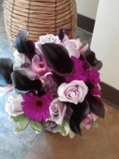 Dark Purple Calla Lilies And Roses Hand Tied Bouquet