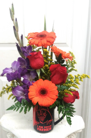Darth Gerbera Mug Arrangement in Mount Pleasant, TX | DESIGNS BY LISA