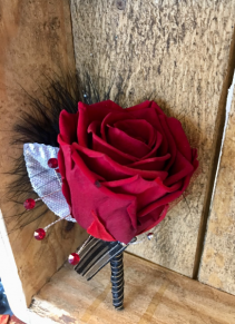Dashing in Red  Forever Rose Boutonniere