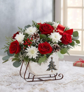 Dashing Through the Snow Sleigh™ centerpiece arrangement