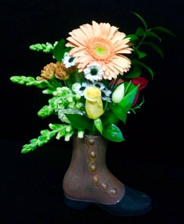 Days Gone By Old Fashion Boot Vase with Floral Mix