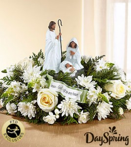 Dayspring Gods Gift of Love Centerpiece by FTD Fresh Flowers in container
