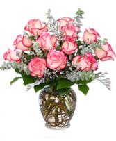 Dazzling Bi-Colored Pink & White Roses Vase