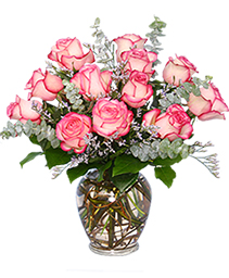 Dazzling Bi-Colored Pink & White Roses Vase