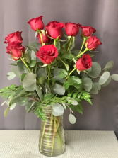 Dazzling Dozen Red Rose Arrangement